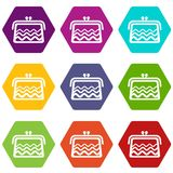 Wallet icons set 9 vector. Wallet icons 9 set coloful isolated on white for web Royalty Free Stock Image