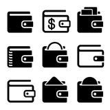 Wallet Icons Set on White Background. Vector Royalty Free Stock Photo