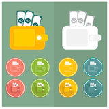 Wallet Icons Simple set Pink green yellow blue white orange dollar v Stock Photo