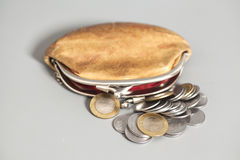 Wallet with Indian currency coins. On gray background Stock Photos