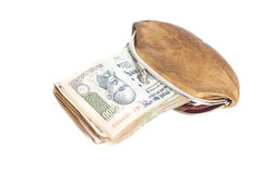 Wallet with Indian currency notes. Isolated on white Stock Image