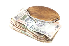 Wallet with Indian currency notes. Isolated on white Royalty Free Stock Images