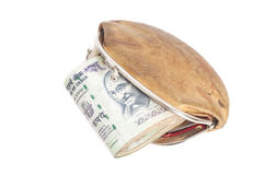 Wallet with Indian currency notes  on white Royalty Free Stock Photos