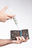 Wallet injected with money close up Stock Photography
