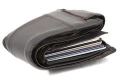 Wallet with isolated white back ground. Dark brown wallet full with cradit card Stock Photos