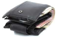 Wallet with isolated white back ground. Dark brown wallet full with Chinese RMB money Stock Image
