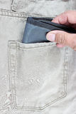Wallet in jeans pocket Stock Photography