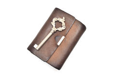 Wallet and key isolated on white Stock Photos