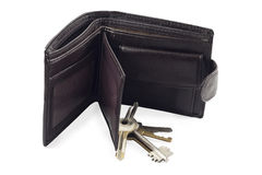 Wallet and Keys. Bunch of keys on brown leather wallet Royalty Free Stock Photos