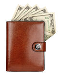 Wallet. Leather wallet with money isolated on white background royalty free stock image