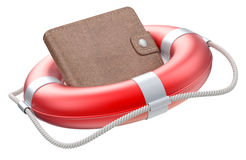 Wallet in the lifebuoy Stock Photo