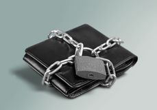 Wallet. Lock Protection Chain Strength Security Savings Stock Photography