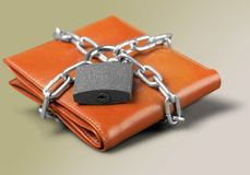 Wallet. Lock Protection Chain Strength Security Savings Stock Image