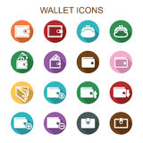 Wallet long shadow icons Stock Photos