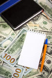 Wallet and a lot of american dollars Royalty Free Stock Images