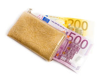 Wallet with many euros Stock Photos