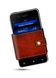 Wallet and mobile phone with mobile payment screen. Over white background Stock Image