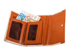 Wallet with monetary denominations Stock Photography
