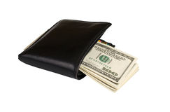 Wallet with money. Dollar bills enclosed in a black leather wallet  it is isolated on a white background Royalty Free Stock Photography