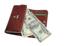 Wallet and money. Isolated Royalty Free Stock Image