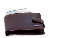 Wallet with money. On white background royalty free stock photos