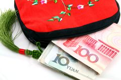 Wallet with money. Chinese tradition wallet with money on the white Royalty Free Stock Image