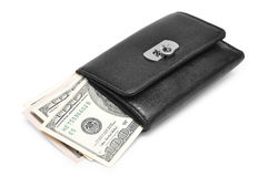 Wallet with money. Black wallet with money isolated on white background Royalty Free Stock Photos