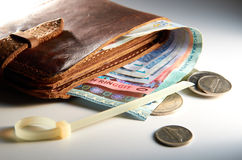 Wallet And Money. With cable tie in background Stock Image