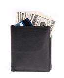 Wallet and money. Leather wallet with some dollars and cards on a white background Royalty Free Stock Photography