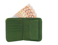 Wallet with Money. Open wallet with banknotes isolated on a white background Stock Image