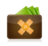 Wallet and money band aid fix solution concept Stock Photo