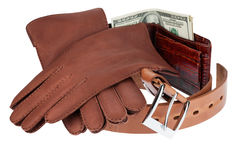 Wallet,money, belt and gloves Stock Image