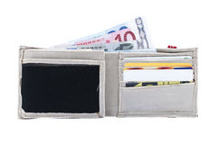 Wallet with money and cards. Isolated on white background Royalty Free Stock Image