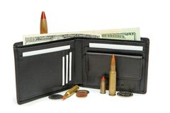 Wallet, money and cartridges isolated Royalty Free Stock Photography