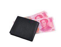 Wallet and Money. CNY Chinese money renminb RMB and a  wallet, isolated in white background Royalty Free Stock Photo