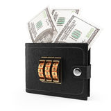 Wallet with money and combination lock Royalty Free Stock Photo