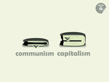 Wallet money comparison between communism and capitalism Stock Images