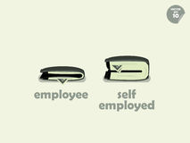 Wallet money comparison between employee and self employed Stock Photos
