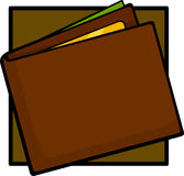 Wallet with money and credit card. Illustration of a wallet with money and credit card Royalty Free Stock Images