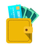 Wallet with money and credit card. Royalty Free Stock Image