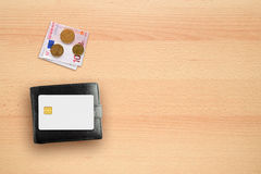 Wallet, money and credit card mock-up Stock Photography