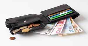 Wallet with money and credit cards. Black leather wallet with euro money and credit cards Stock Image