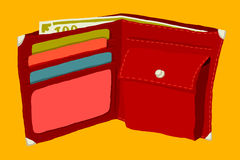 Wallet with money and credit cards. Author's illustration Stock Photos