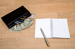 Wallet with money, credit cards and notepad Stock Images