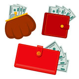 Wallet with money, green dollars. earnings vector flat icons. Finance cash earning illustration Stock Photos