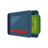 Wallet with money isolate icon Stock Photography