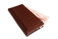 Wallet with money on isolated Stock Photo