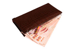 Wallet with money on isolated Stock Photos