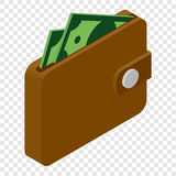 Wallet and money isometric 3d icon Royalty Free Stock Images