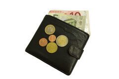 Wallet and money. Leather wallet with money and coins Stock Photo
